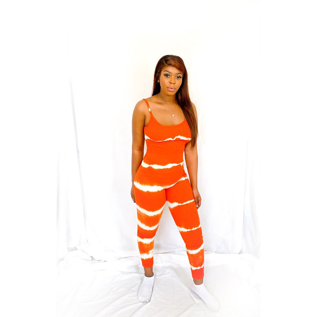 Orange Tie Dye Ribbed Strappy Backless Jumpsuit