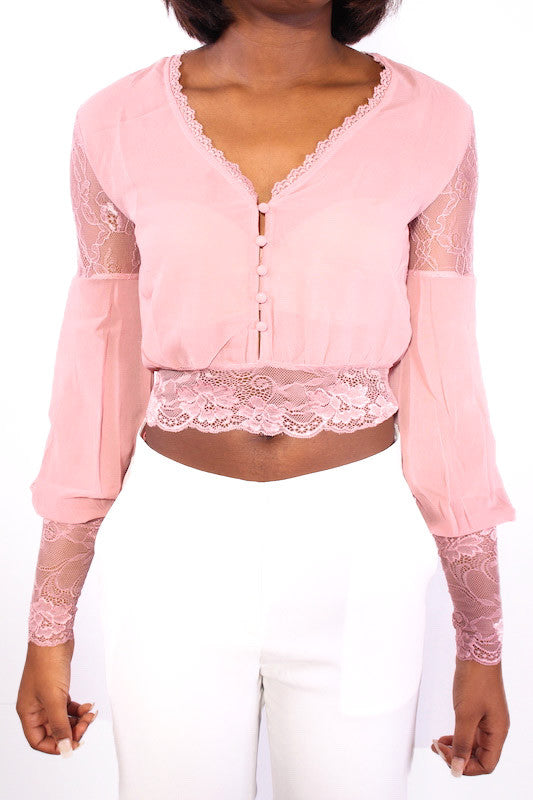 Pink Eyelash Lace Trim Long Sleeve Crop Top