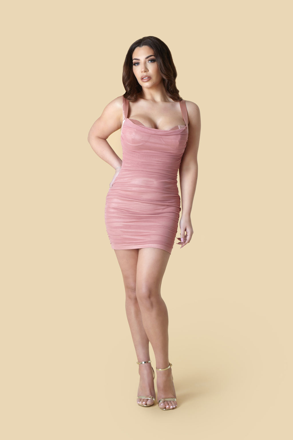Pink Ruched Halter Neck Bodycon Dress