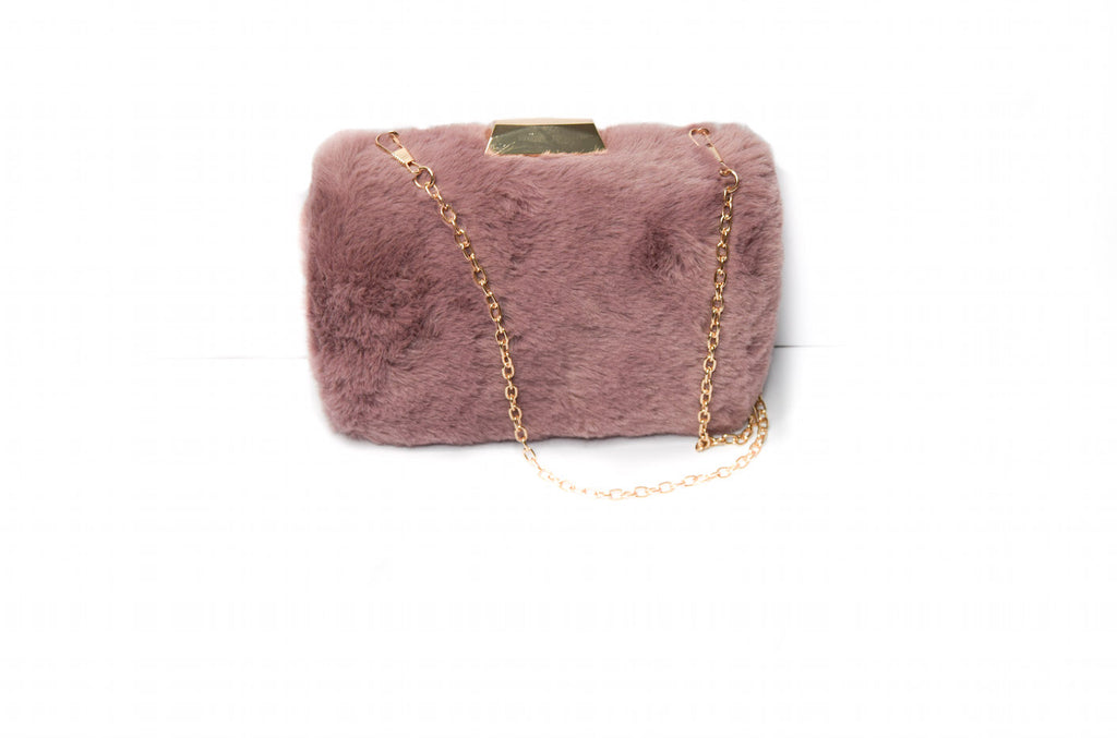 Pink Faux Fur Clutch Bag