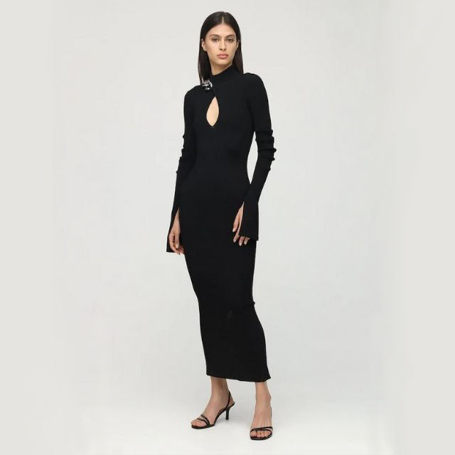 Ribbed Chain Embellished Turtleneck Midi Dress