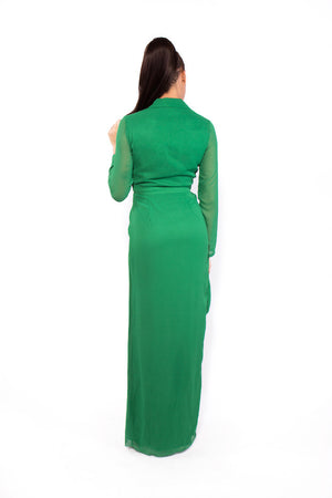 Green Wrap Front Shirt Evening Dress (back)