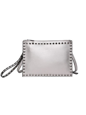Large Silver Studded Leather Clutch Handbag