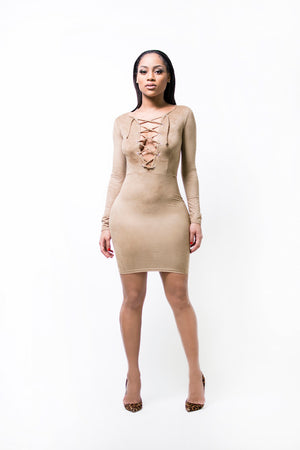 Nude Lace Up Front Suede Dress