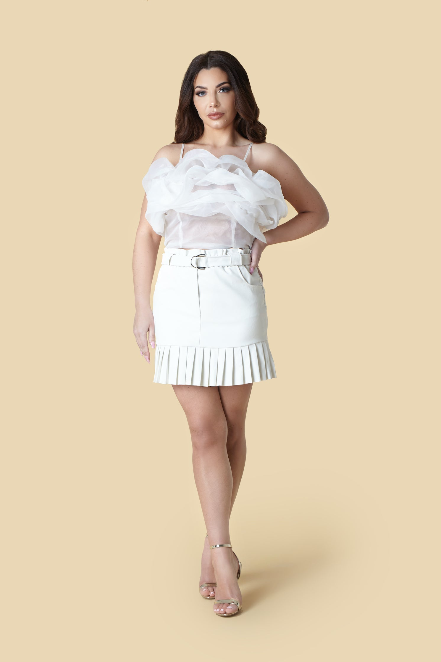 White Faux Leather Belt Detail Mini Skirt
