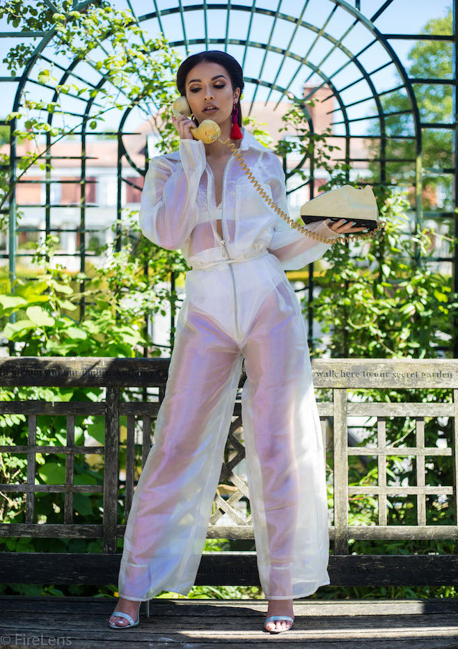 White Iridescent Long Sleeve Festival Jumpsuit