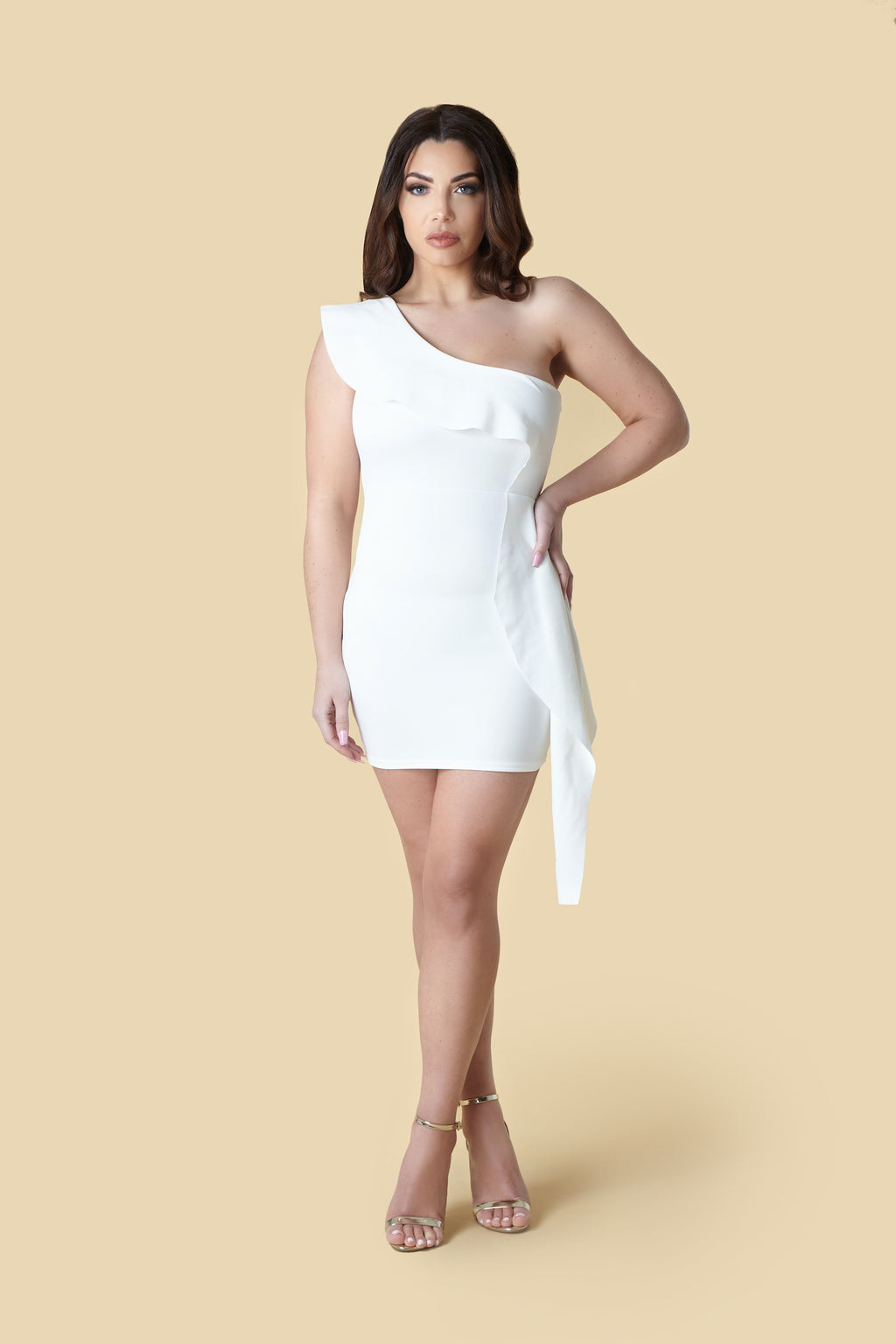 White One-Shoulder Ruffle Scuba Bodycon Dress