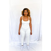 Cream Backless Ribbed Strappy Jumpsuit