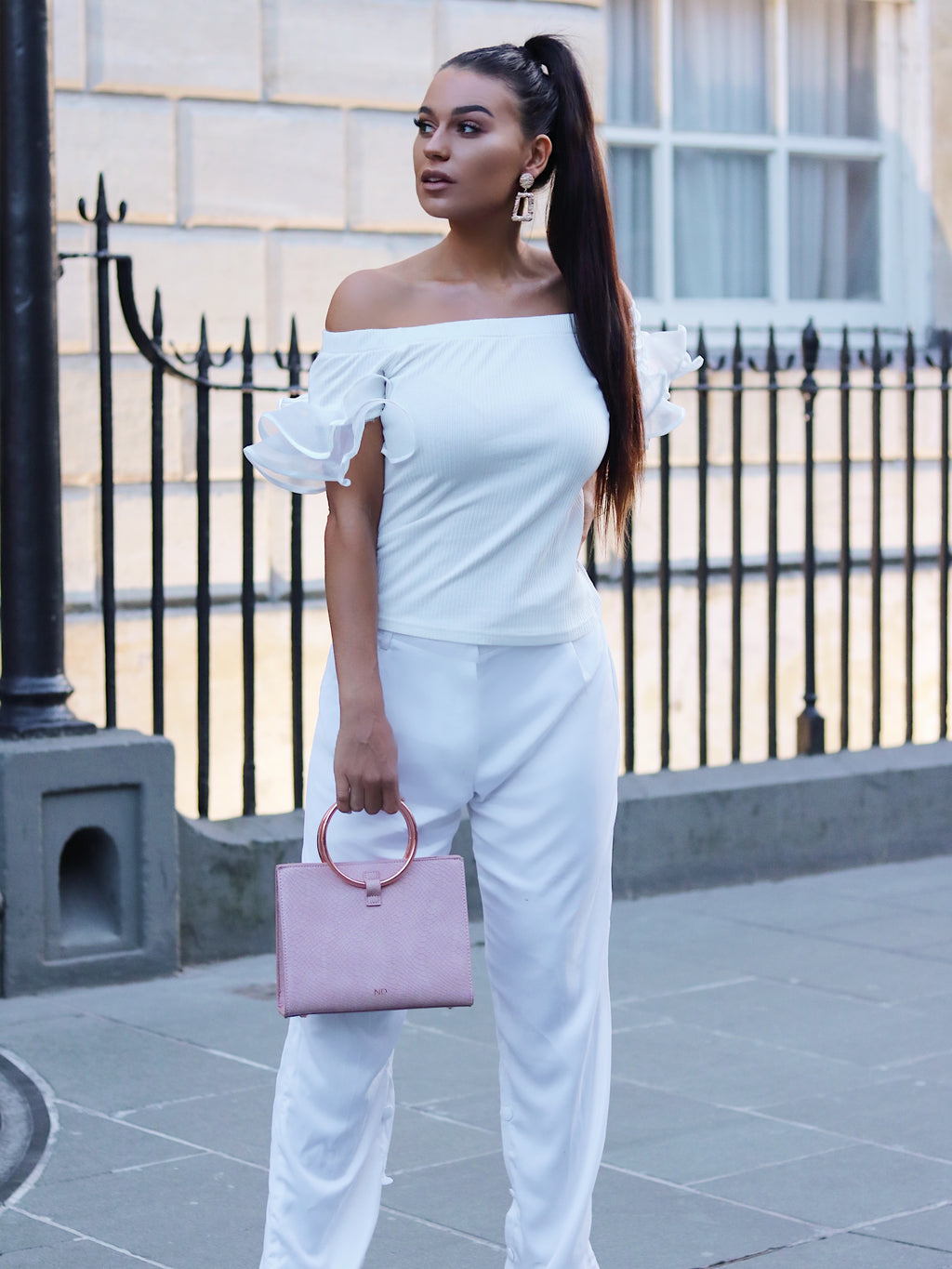 White Off Shoulder Frill Sleeve Top