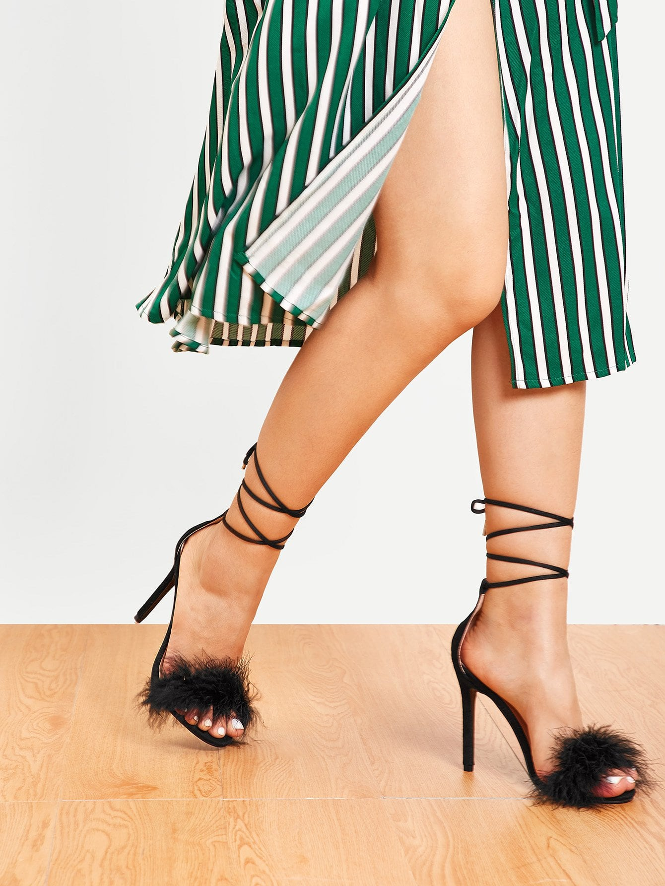 Fluffy Criss Cross Stiletto Heels