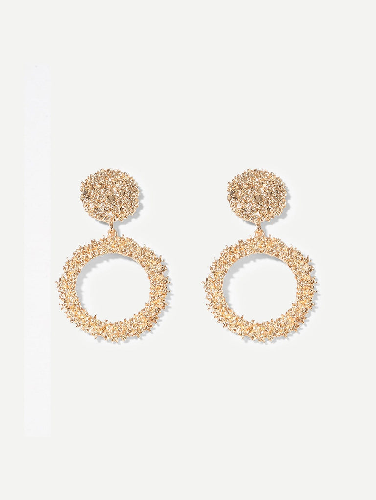 Textured Round & Hoop Drop Earrings