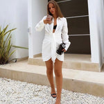 White Deep-V Plunge Mini Shirtdress