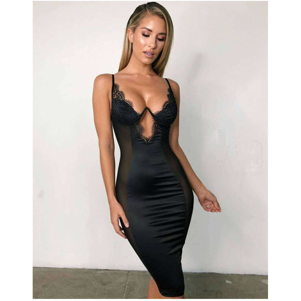 Mesh Bodycon Lace Cup Dress