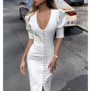 White Puff Sleeve V Neck Button Midi Dress