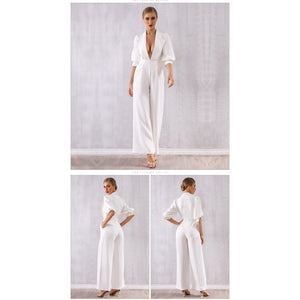 White Deep V-Neck Long Sleeve Jumpsuit
