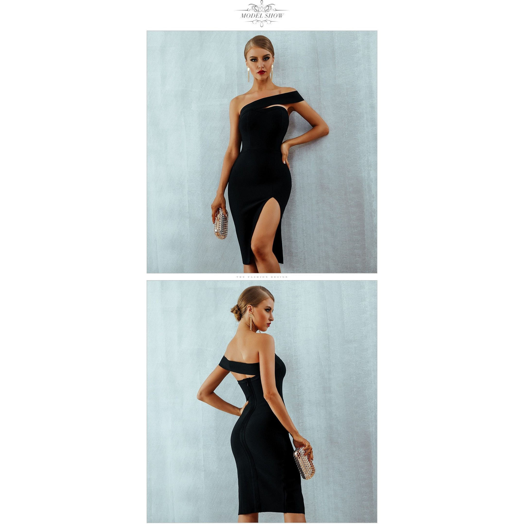 One Shoulder Bandage Midi Dress With High Slit