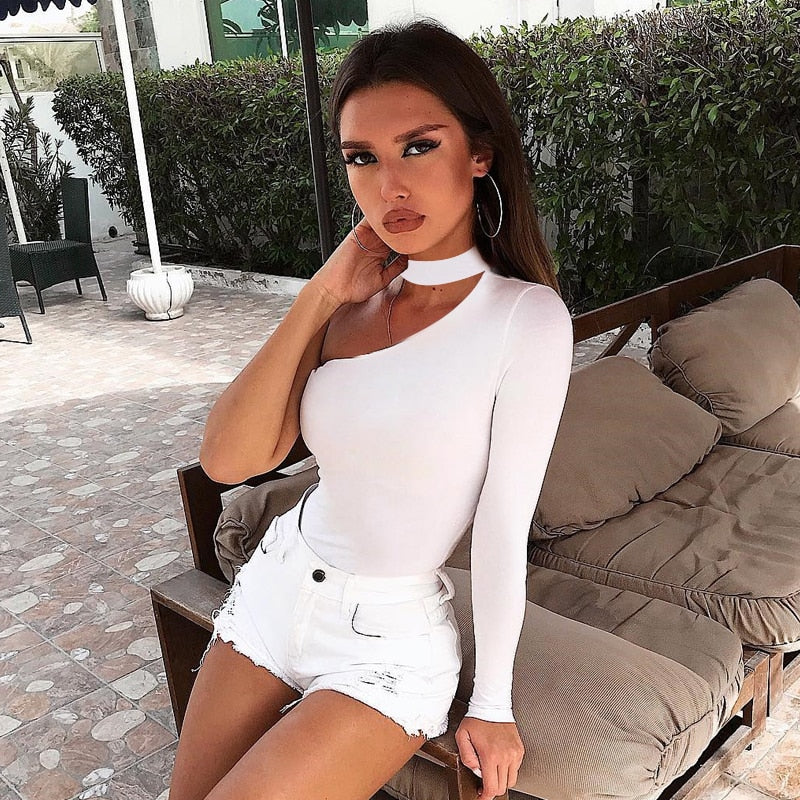 One Shoulder Sleeve Asymmetrical Bodysuit