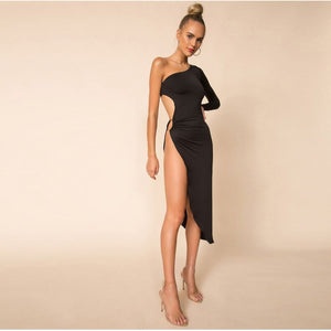 One shoulder Side Slit Bodycon Midi Dress