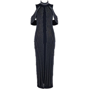 Long Beaded Turtleneck Bandage Evening Dress