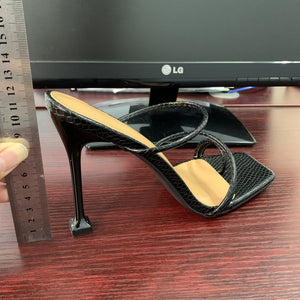 Faux Leather Pyramid Heel Mule