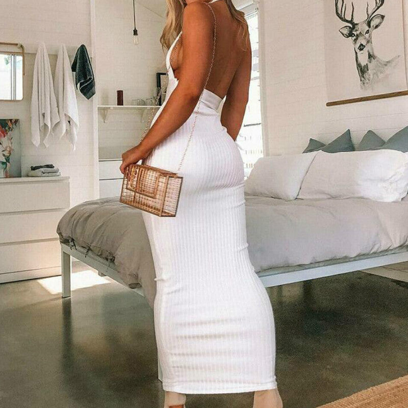 Ribbed Knitted Halterneck Backless Midi Dress