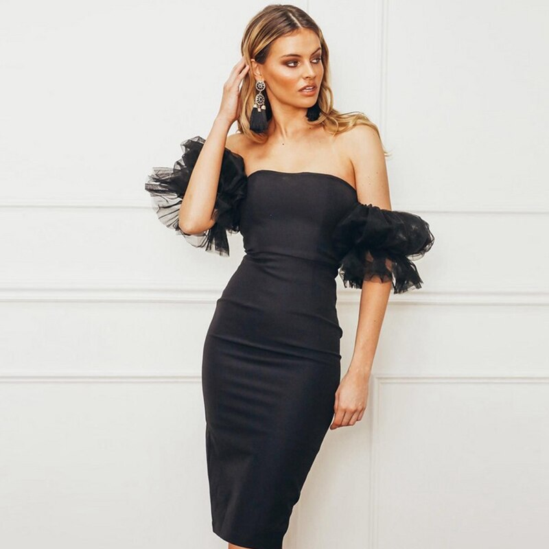 Black Off Shoulder Puff Sleeve Midi Dress