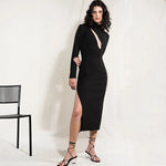 Black Long Sleeve Bandage Mid Calf Dress