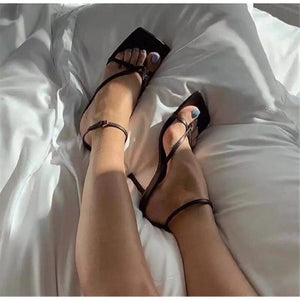 Square Toe Buckle Strap  High Heels