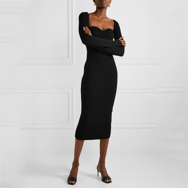 Ribbed Square Neck Bustier Long Sleeve Midi Dress