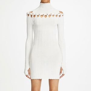 Ribbed Braided Turtleneck Mini Dress
