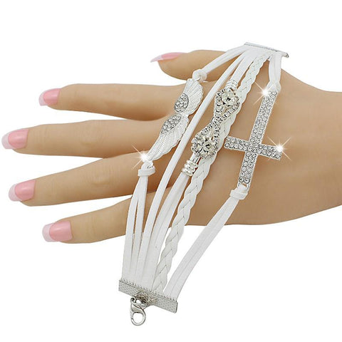 Bohemia crystal cross and wings charm bracelet