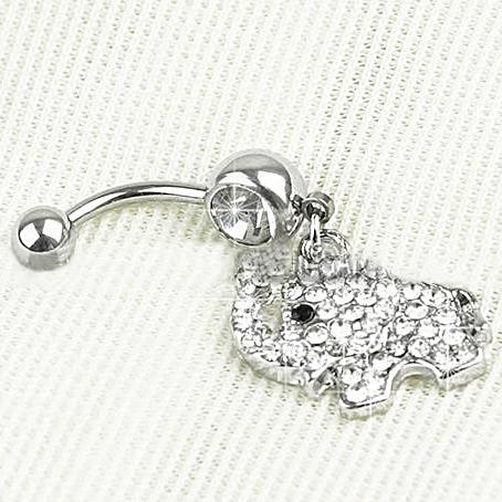 Rhinestone Elephant Belly Ring - everydayjoejewels