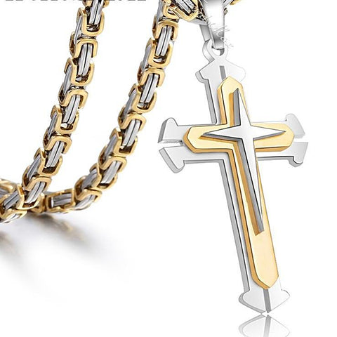 3 Layer Knight's Cross Pendant Necklace - everydayjoejewels