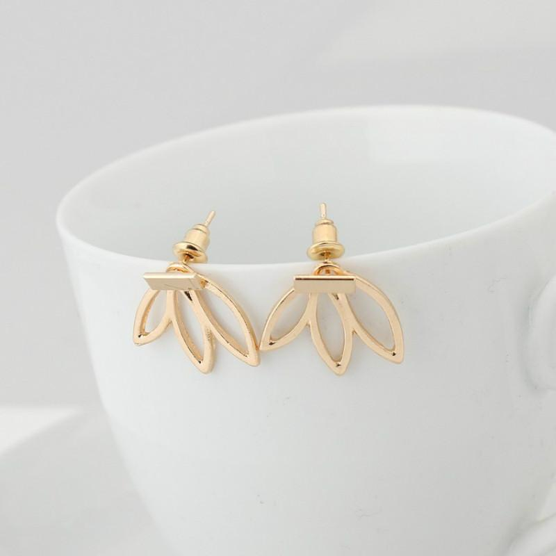 Hollow Lotus Charm Stud Earrings gold