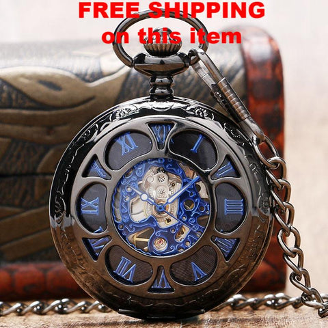 Steampunk Hollow Skeleton Mechanical Pocket Watch