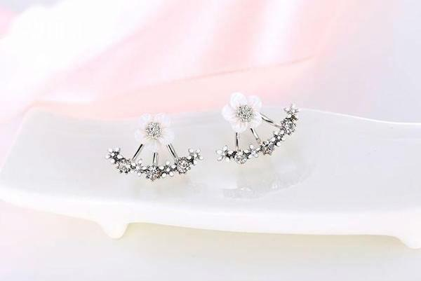 Cherry Blossom Stud Earrings sterling silver with pale pink enamel flowers