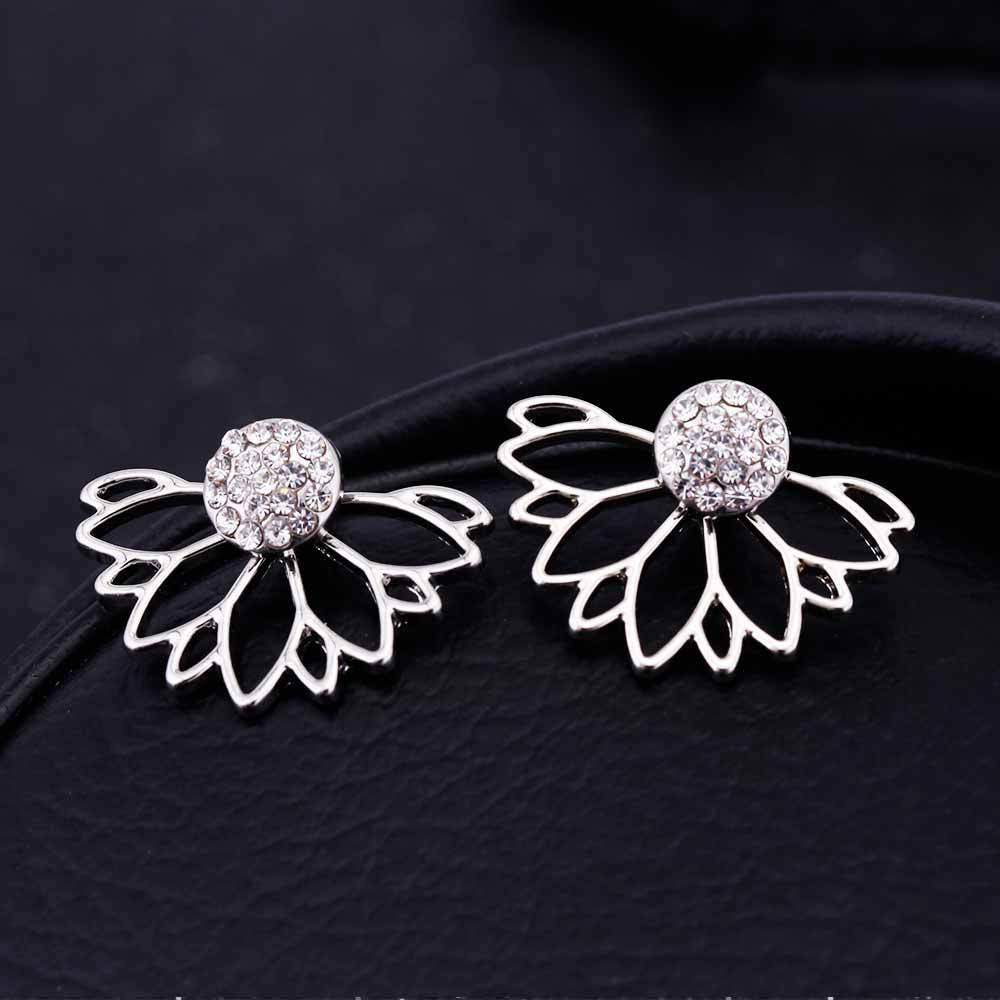 Lotus Crystal Stud Earrings silver