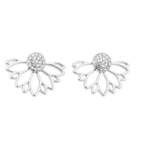 Lotus Crystal Stud Earrings