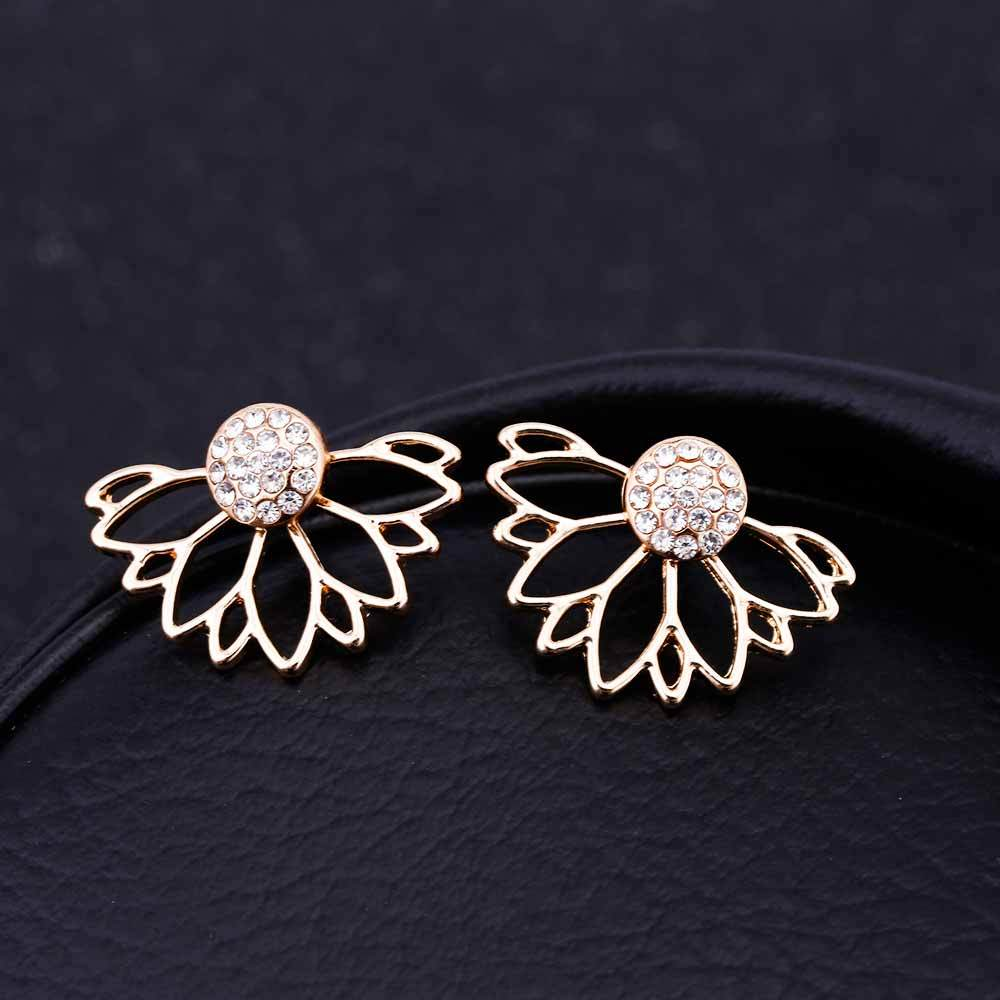 Lotus Crystal Stud Earrings gold