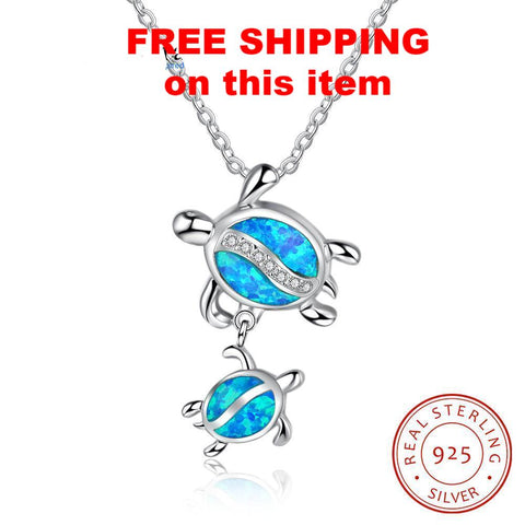 Mom & Baby Tortoises Blue Opal, Sterling Silver, Necklace & Pendant - everydayjoejewels