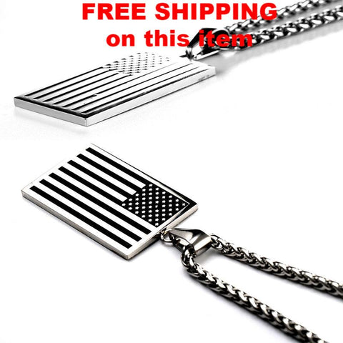 USA Patriot Freedom Stars and Stripes Dog Tag Pendant Necklace