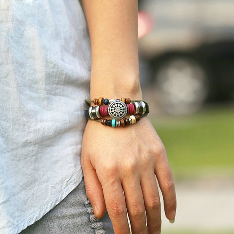 Vintage Bohemia Wind Leather Hand Made Bracelet - everydayjoejewels