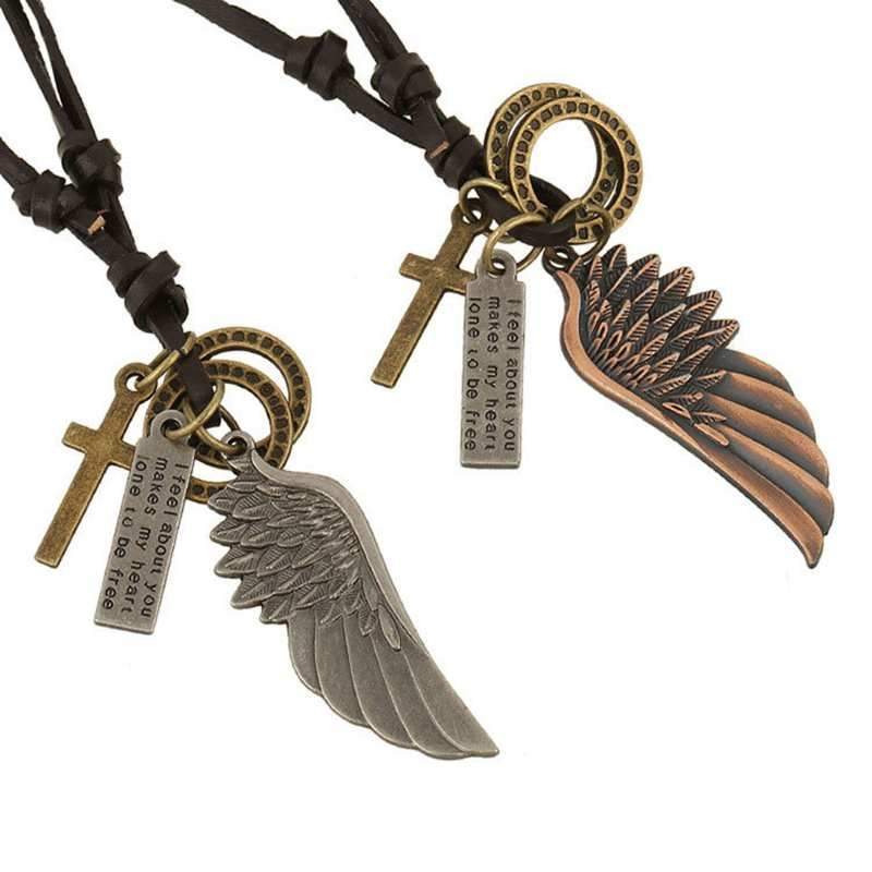 Vintage Wings Leather Cord Necklace, in antique gold or antique silver style