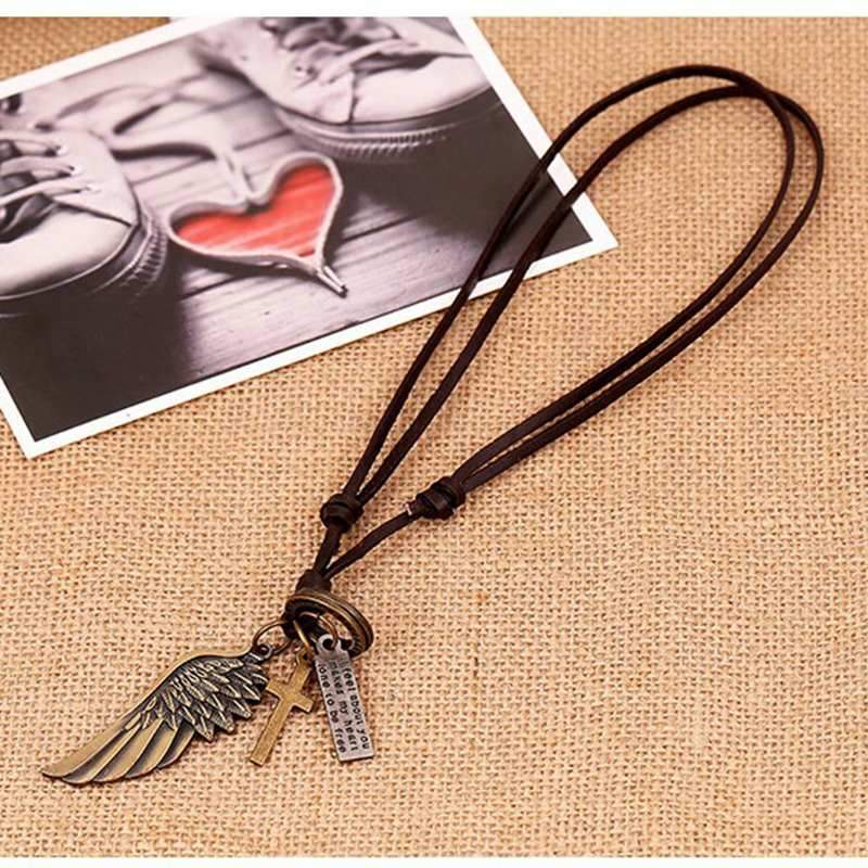 Vintage Wings Leather Cord Necklace - everydayjoejewels