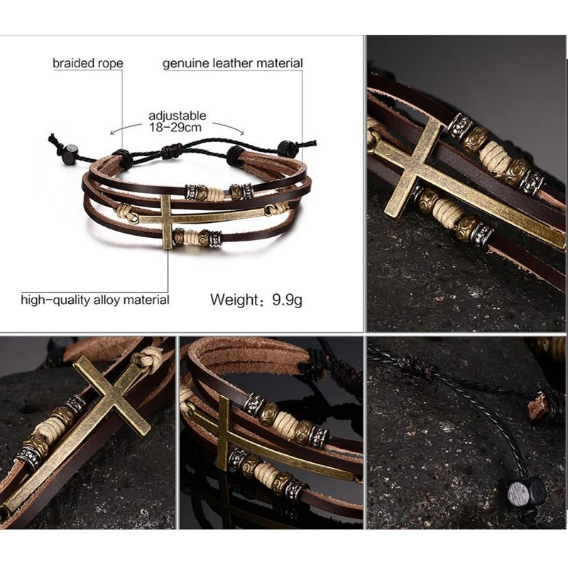 casual and rustic cross pendant multi-layer chain leather bracelet