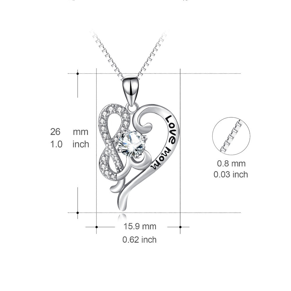 Love Mom 925 Sterling Silver Heart Necklace - everydayjoejewels