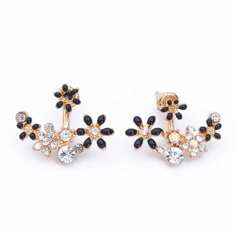 Daisy Pearl Earrings, lovely flowers in mixed vivid colors with crystal and pearls in amazing plated stud earrings