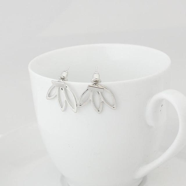 Hollow Lotus Charm Stud Earrings silver