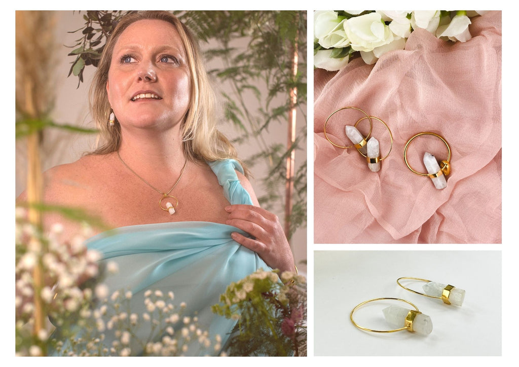floral photoshoot, moonstone jewellery, rough moonstone earrings, white crystal necklace