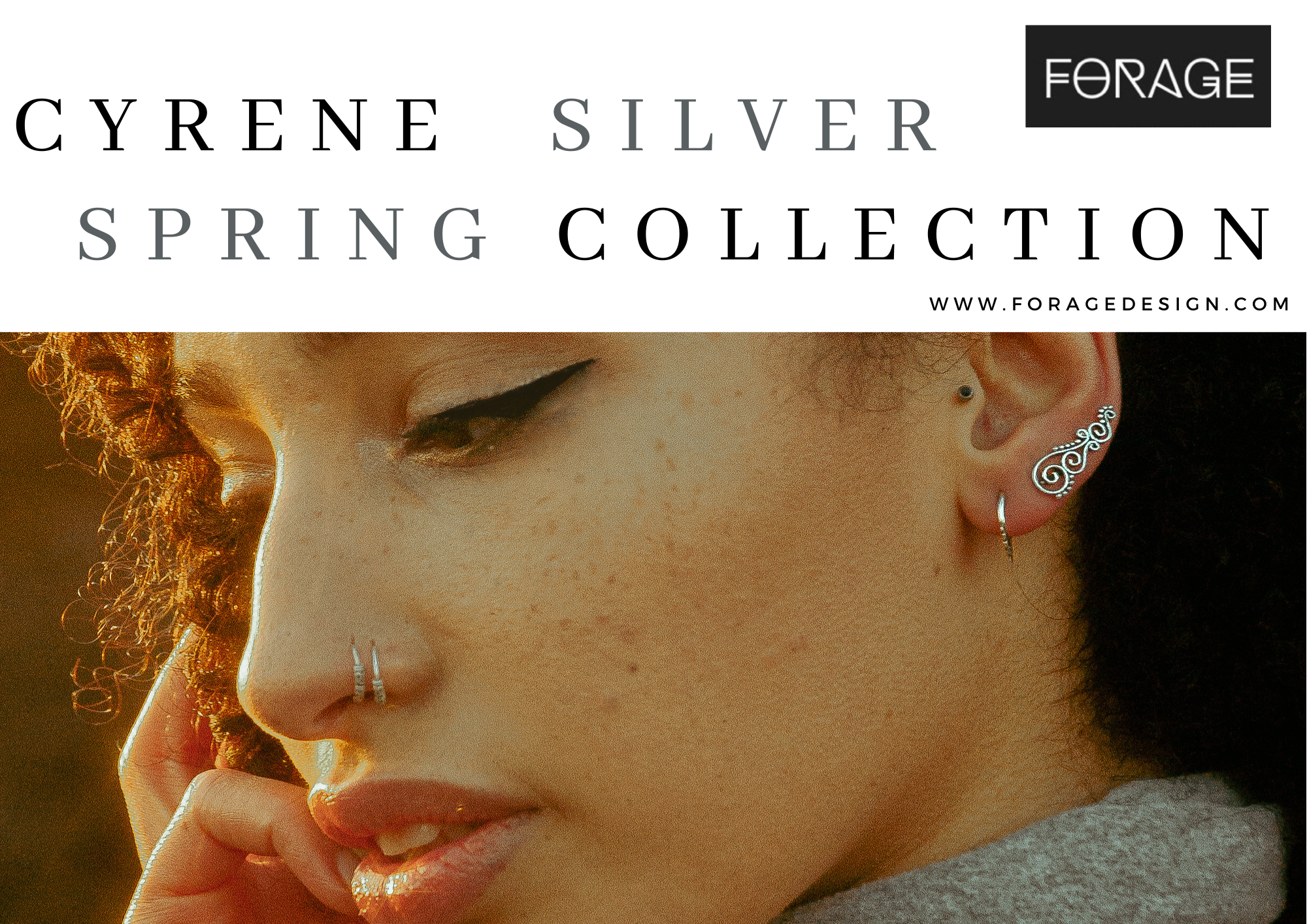 Cyrene silver collection look book by Forage Design
